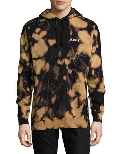 Obey Graphic Hooded Pullover-BROWN/BLACK-Large