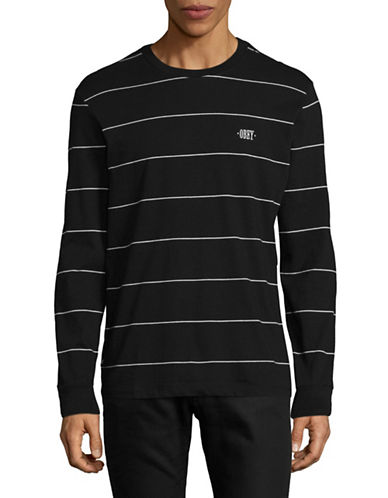Obey Sutton Striped Long-Sleeve T-Shirt-BLACK-Large