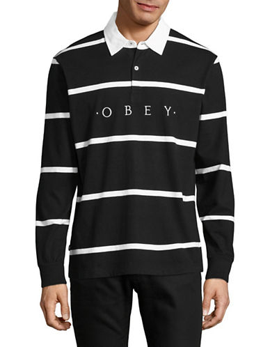 Obey Bridgewater Long Sleeve Polo-BLACK-X-Large