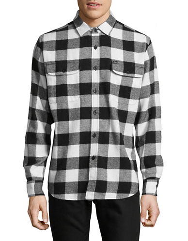 Obey Trent Woven Flannel Shirt-BLACK-Large