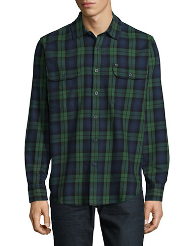 Obey Plaid Check Shirt-GREEN-Medium