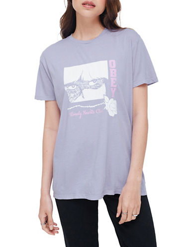 Obey Lonely Hearts Cotton Tee-LAVENDER-Large