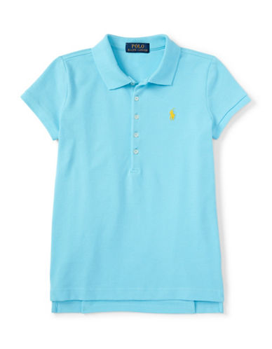 Ralph Lauren Childrenswear Pique Polo Shirt-BLUE-Large
