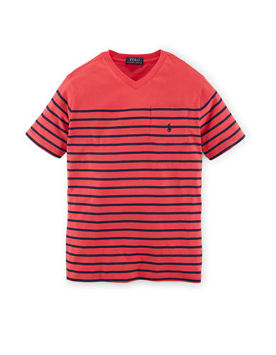 Ralph Lauren Childrenswear Jersey V-Neck T-Shirt-RED-Small 88043931_RED_Small