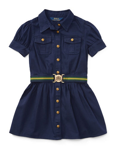 Ralph Lauren Childrenswear Chino Belted Cotton Shirt Dress-NAVY-3T