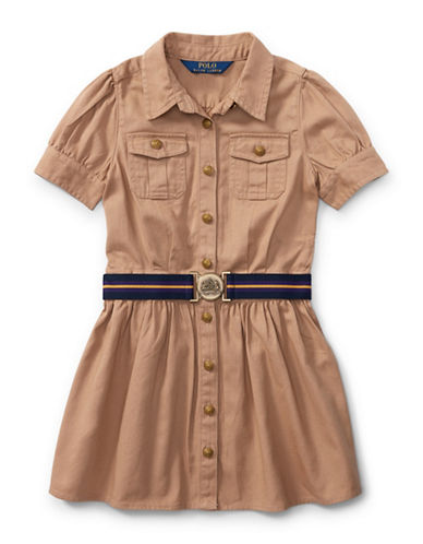 Ralph Lauren Childrenswear Chino Belted Cotton Shirt Dress-KHAKI-2T