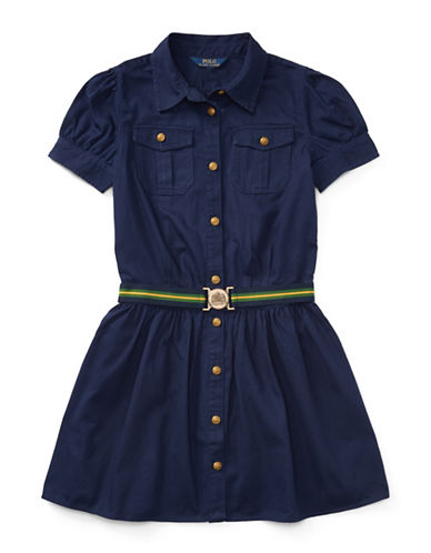 Ralph Lauren Childrenswear Chino Belted Cotton Shirt Dress-NAVY-14