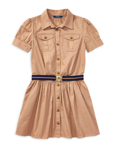Ralph Lauren Childrenswear Chino Belted Cotton Shirt Dress-KHAKI-12