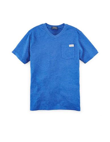 Ralph Lauren Childrenswear V-Neck Jersey T-Shirt-SAPPHIRE HEATHER-Small