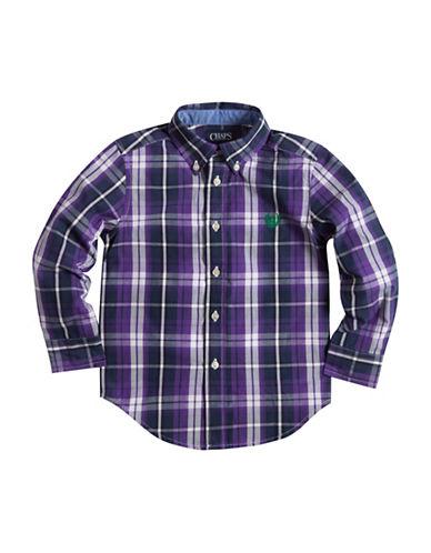 Chaps Plaid Poplin Shirt-PURPLE-2T