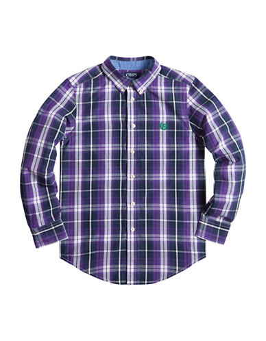 Chaps Plaid Poplin Shirt-PURPLE-Medium