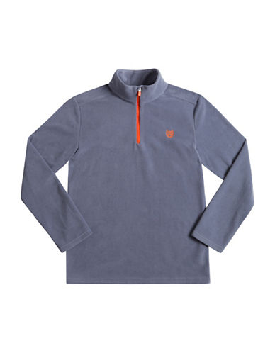 Chaps Half-Zip Fleece Pullover-LIGHT BLUE-Small