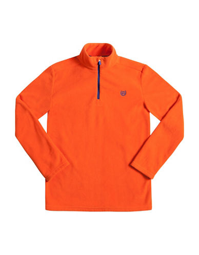 Chaps Half-Zip Fleece Pullover-ORANGE-Small