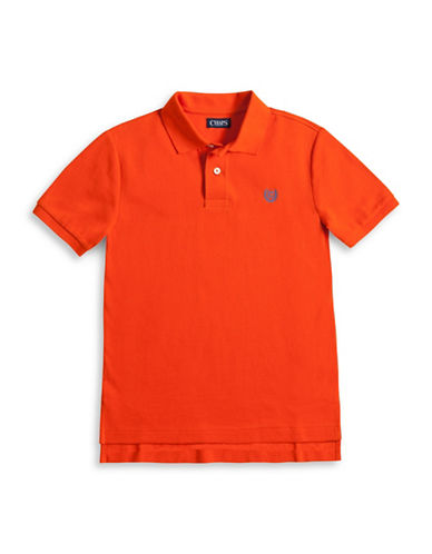 Chaps Cotton Pique Polo Shirt-DUSK ORANGE-Small
