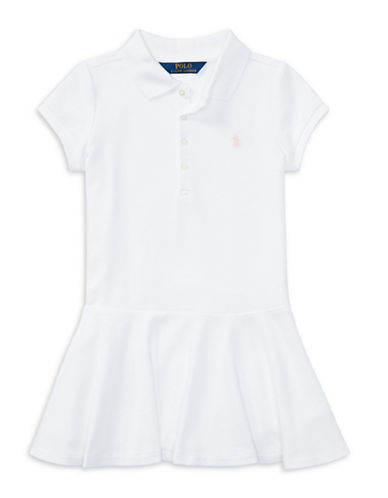 Ralph Lauren Childrenswear Short-Sleeve Polo Dress-WHITE-2T