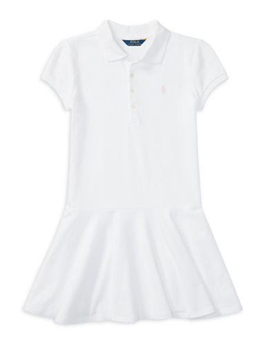 Ralph Lauren Childrenswear Easy-Fit Polo Dress-WHITE-Small