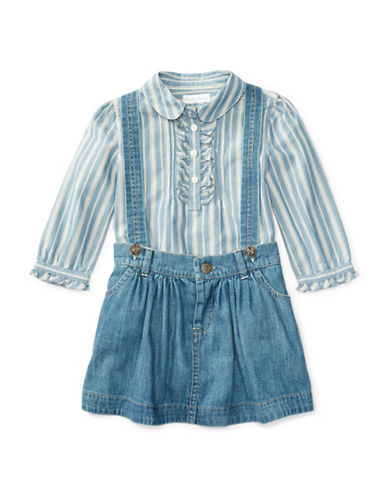 Ralph Lauren Childrenswear Striped Shirt and Suspender Skirt Set-NAVY-24 Months plus size,  plus size fashion plus size appare