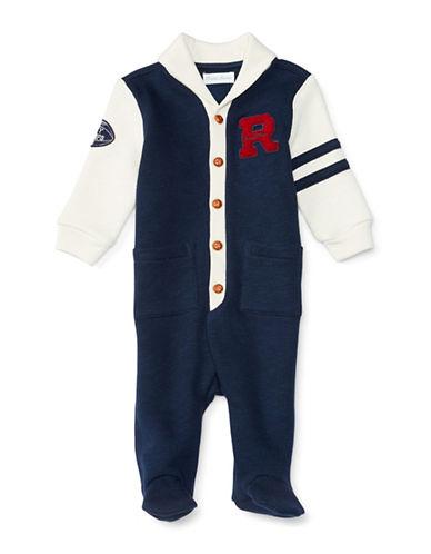 Ralph Lauren Childrenswear Fleece Shawl Varsity Coverall-NAVY-6 Months