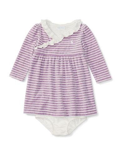 Ralph Lauren Childrenswear Velour Stripe Empire Waist Dress-PURPLE-9 Months