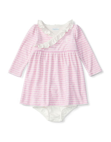 Ralph Lauren Childrenswear Velour Stripe Empire Waist Dress-PINK-12 Months