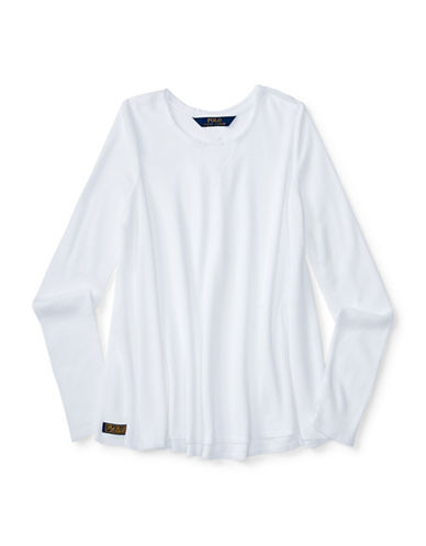 Ralph Lauren Childrenswear Long Sleeve Waffle Swing Tee-WHITE-Large 88402787_WHITE_Large