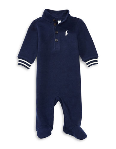 Ralph Lauren Childrenswear French Rib Polo Coverall-BLUE-9 Months