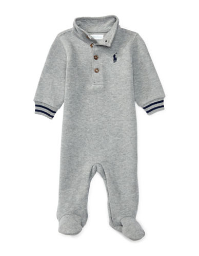 Ralph Lauren Childrenswear French Rib Polo Coverall-GREY-9 Months