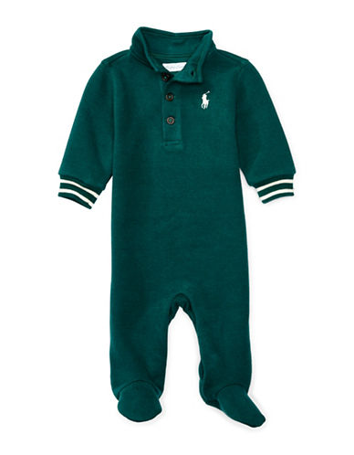 Ralph Lauren Childrenswear French Rib Polo Coverall-GREEN-3 Months