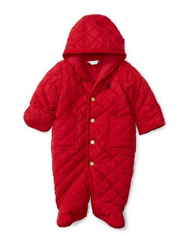 Ralph Lauren Childrenswear Corduroy Trim Microfibre Bunting-RED-6 Months