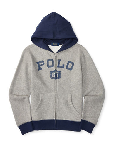 Ralph Lauren Childrenswear Fleece Polo Hoodie-GREY-Large 88514680_GREY_Large