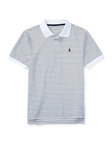 Polo Sport Stripe Stretch Lisle Polo Shirt-WHITE/BLACK-Medium 88459698_WHITE/BLACK_Medium