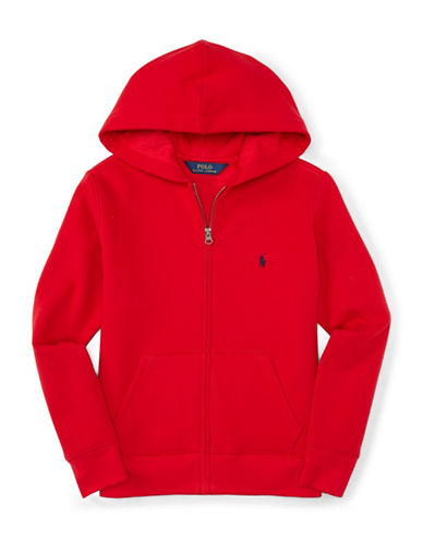 Ralph Lauren Childrenswear Pouch Pocket Zip Hoodie-RED-Large 88459527_RED_Large