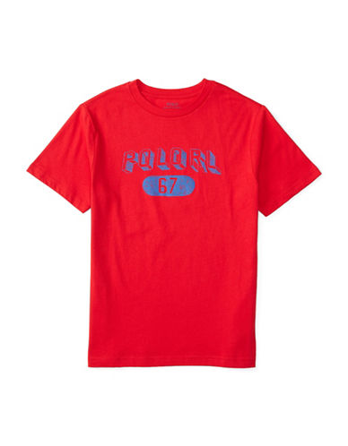 Ralph Lauren Childrenswear Crew Neck Short Graphic Sleeve T-Shirt-RED-X-Large 88459636_RED_X-Large