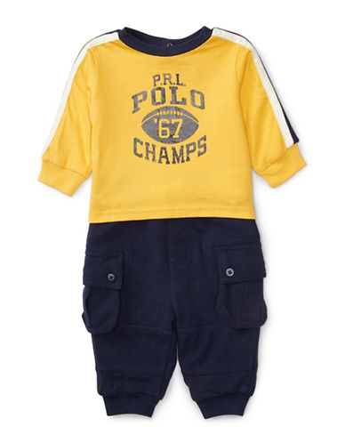Ralph Lauren Childrenswear Jersey Graphic Set-YELLOW-12 Months