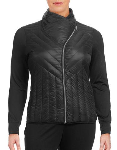Calvin Klein Performance Plus Down Combo Asymmetric Collar Jacket-BLACK-1X 88737832_BLACK_1X
