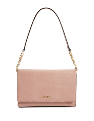 Calvin Klein Key Items Saffiano Leather Demi Shoulder Bag-PINK-One Size