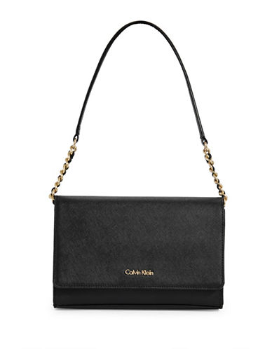 Calvin Klein Key Items Saffiano Leather Demi Shoulder Bag-BLACK-One Size
