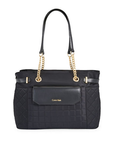 Calvin Klein Quilted Nylon Tote-BLACK-One Size