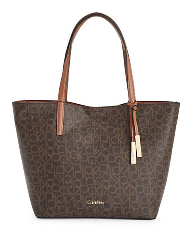 Calvin Klein Reversible Unlined Monogram Tote-BROWN-One Size