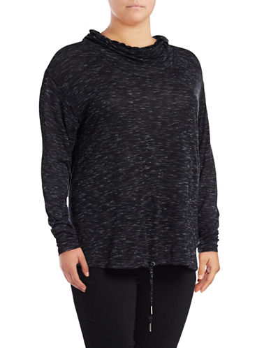 Calvin Klein Performance Plus Quick-Dry Space Dye Cowl Neck Hoodie-BLACK-1X 88737811_BLACK_1X