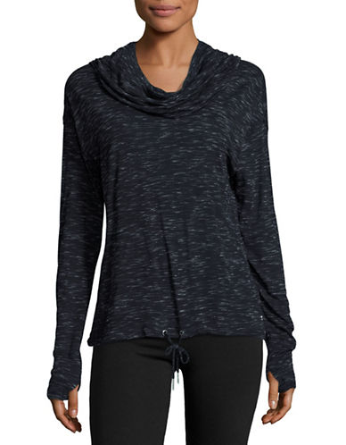 Calvin Klein Performance Heathered Drape Neck Top-BLACK-Medium 88509094_BLACK_Medium
