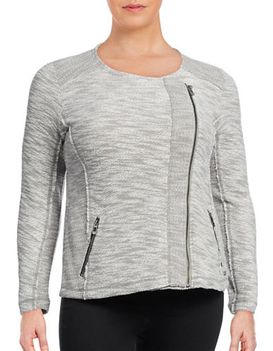 Calvin Klein Performance Plus Slub Moto-Zip Jacket-GREY-3X 88512120_GREY_3X