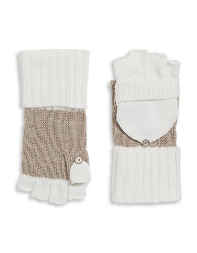 Calvin Klein Colourblocked Flip-Top Gloves-ALMOND-One Size 88911140_ALMOND_One Size