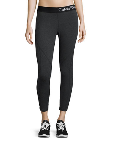 Calvin Klein Performance Quick-Dry Marled Logo Leggings-CHARCOAL-X-Large 88508213_CHARCOAL_X-Large