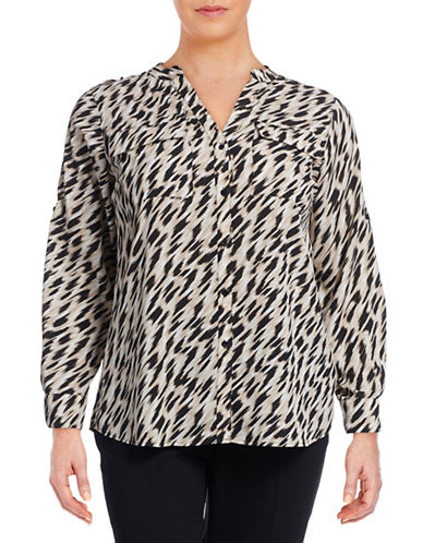 Calvin Klein Plus Printed Roll-Sleeve Utility Blouse-MULTI-0X