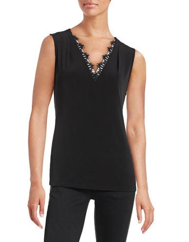 Calvin Klein Lace Trim V-Neck Top-BLACK-Medium 88518454_BLACK_Medium