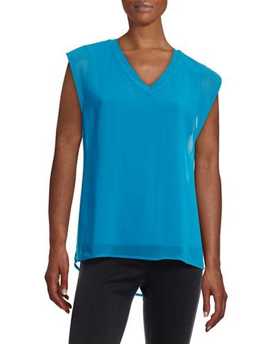 Calvin Klein V-Neck Chiffon Layer Tank-BLUE-X-Small 88451876_BLUE_X-Small