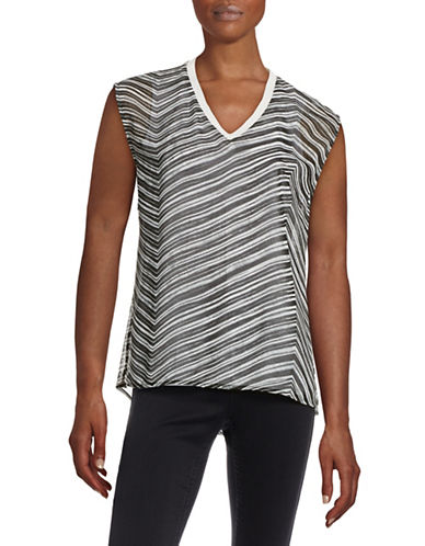 Calvin Klein Stripe Layered Top-BLACK-X-Large 88451940_BLACK_X-Large