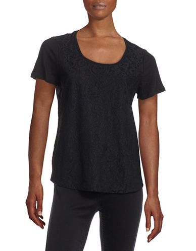 Calvin Klein Lace and Linen Tank T-Shirt-BLACK-Small 88451899_BLACK_Small