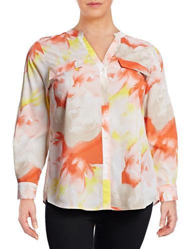 Calvin Klein Plus Printed Roll-Sleeve Utility Blouse-MULTI-1X 88391338_MULTI_1X